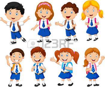Ninos Con Uniforme Escolar Imagenes De Archivo Vectores Ninos Ninos Dibujos Animados Caricaturas De Ninos Ilustracion De Los Ninos