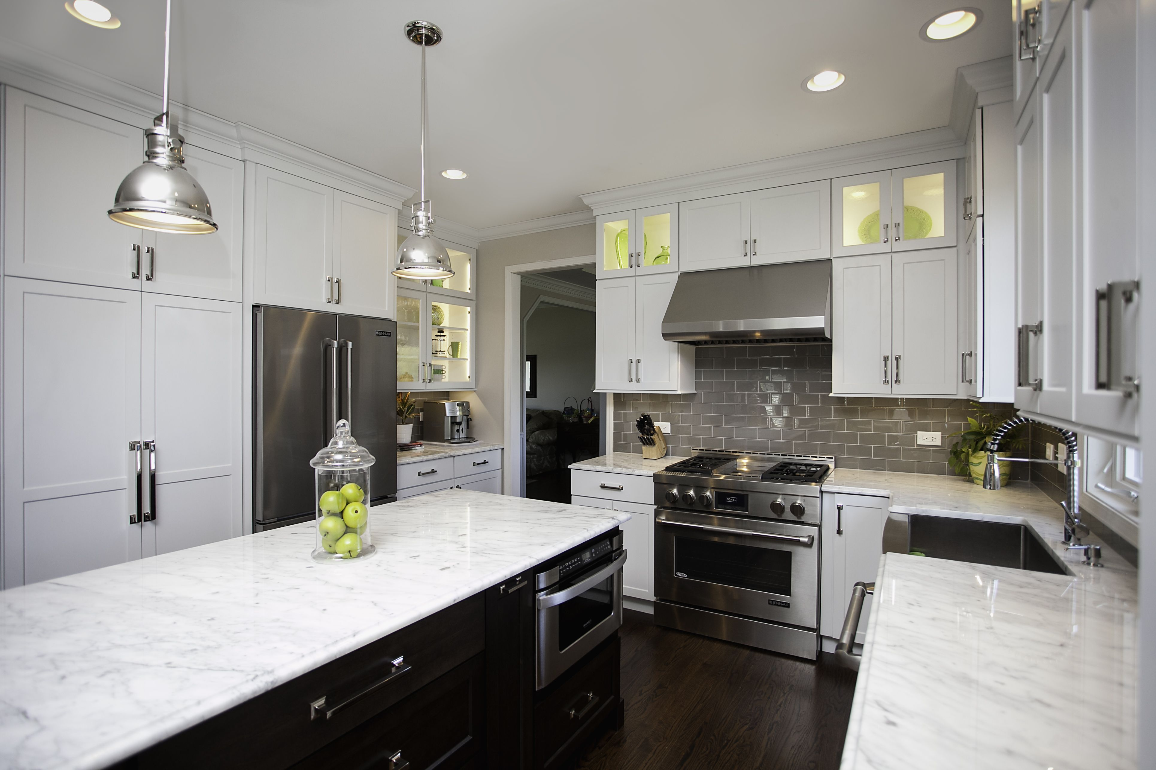 Best Kitchen Gallery: Carrara Marble Tops The Base Cabi S In This Naperville of Kitchen Hood Transitional Styles on rachelxblog.com