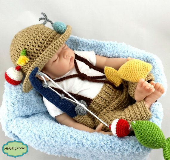 CROCHET PATTERN Crochet Newborn Fisherman Hat and Suspenders with ...