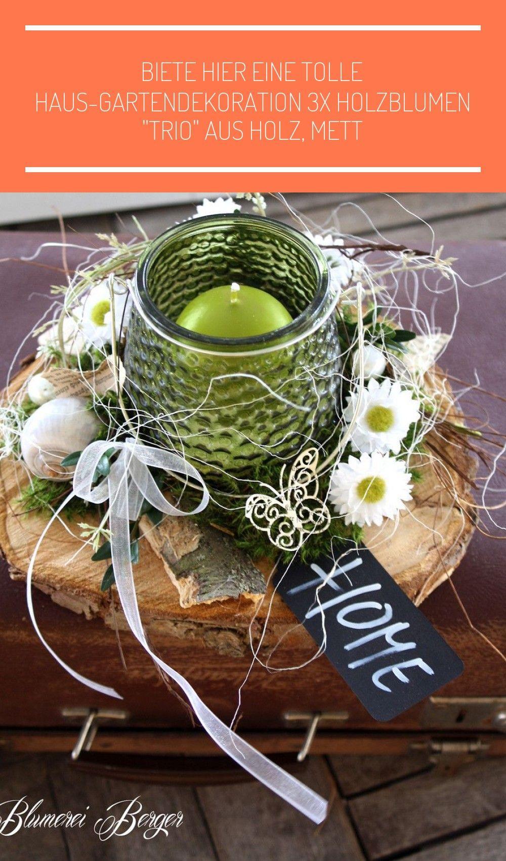 Deko-Objekte - :::: Tischdeko  HOME  :::: - ein Designerstück von BlumereiBerger bei DaWanda #holzscheiben deko frühling #holzscheibendeko
