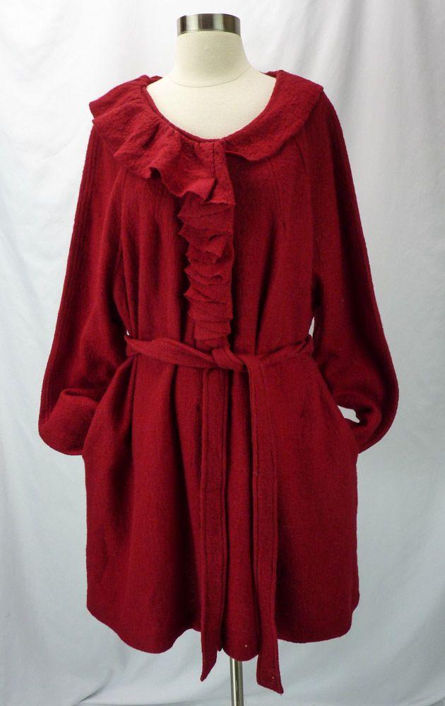 Cynthia Rowley 100% Wool Red Ruffle Trim Belted Cardigan Sweater Coat Jacket 3X  #CynthiaRowley #Cardigan