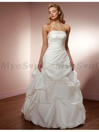A Line Embroidery Strapless Sweep Train Satin Wedding Dress Wedding Dresses Wedding Dresses 2014 A Line Wedding Dress