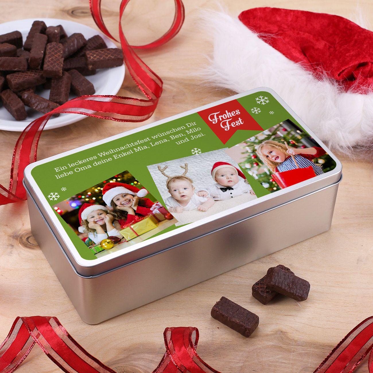 Foto-Geschenkdose zu Weihnachten mit drei Bildern und Wunschtext ...