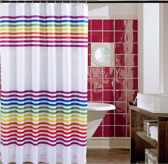 Rainbow Printed Shower Curtains Rainbow Patterned Bathroom Curtains Striped Shower Curtains Colorful Bathroom Decor Sc004 Fabric Shower Curtains Long Shower Curtains Striped Shower Curtains
