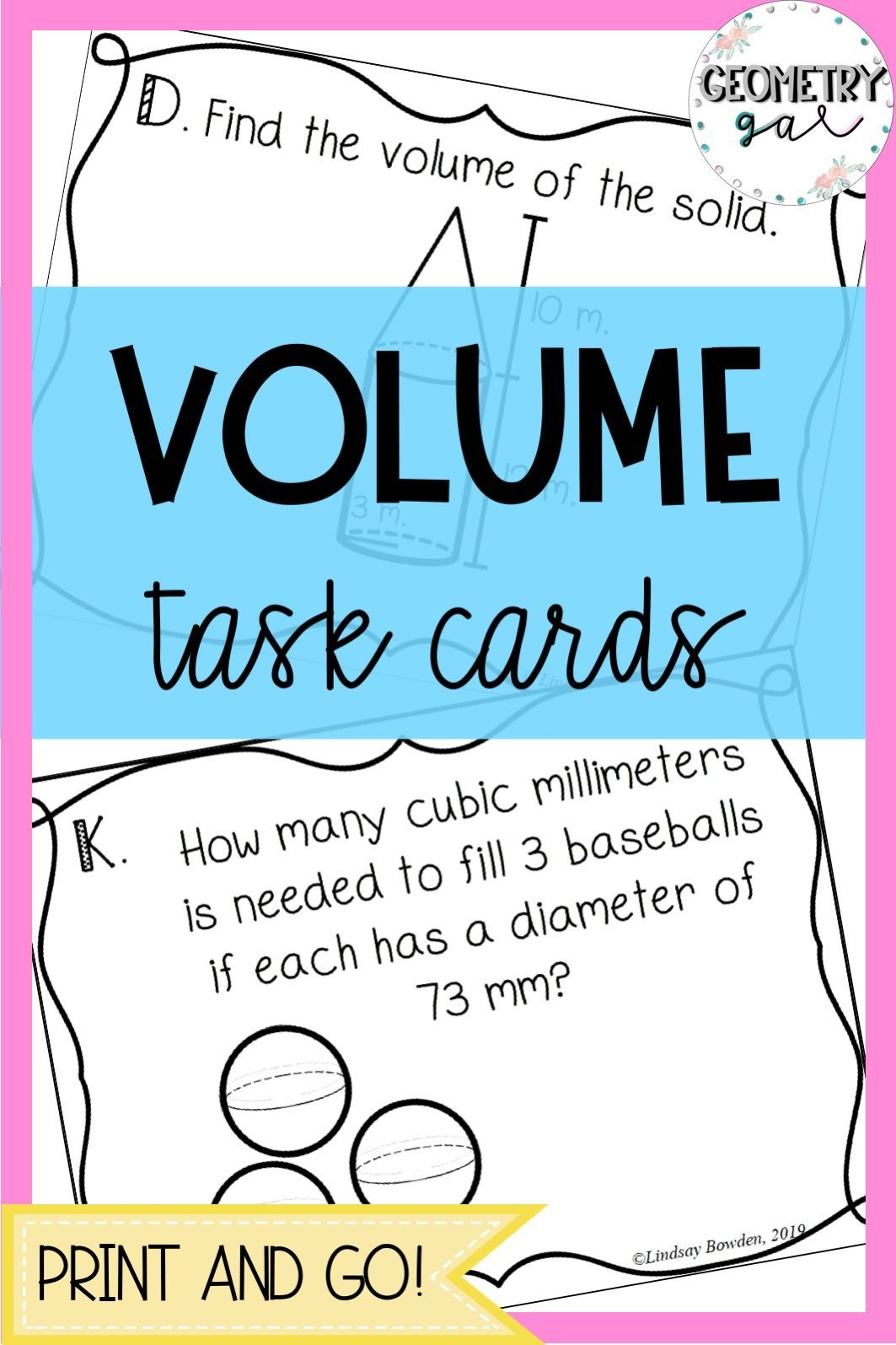 Volume Task Cards For High School Geometry Shapes Include