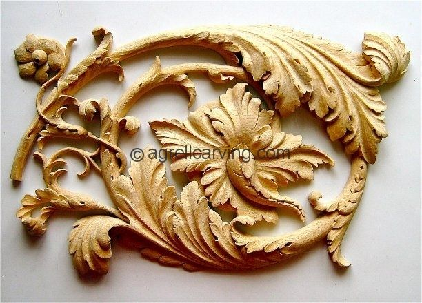 Wood carved of Renaissance acanthus scroll - hand carved by Agrell