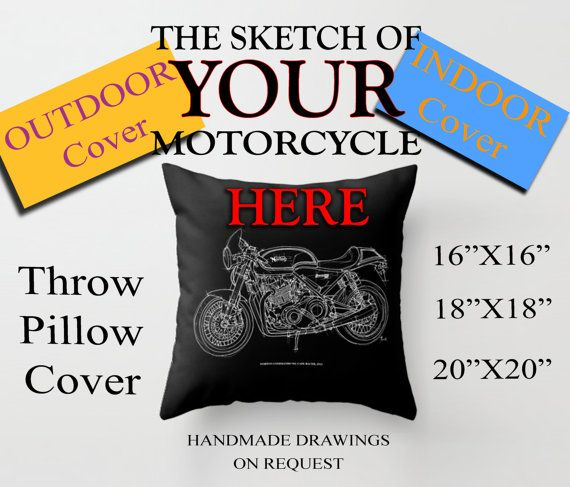 Personalized Throw Pillow for bikers OUTDOR or INDOOR by drawspots