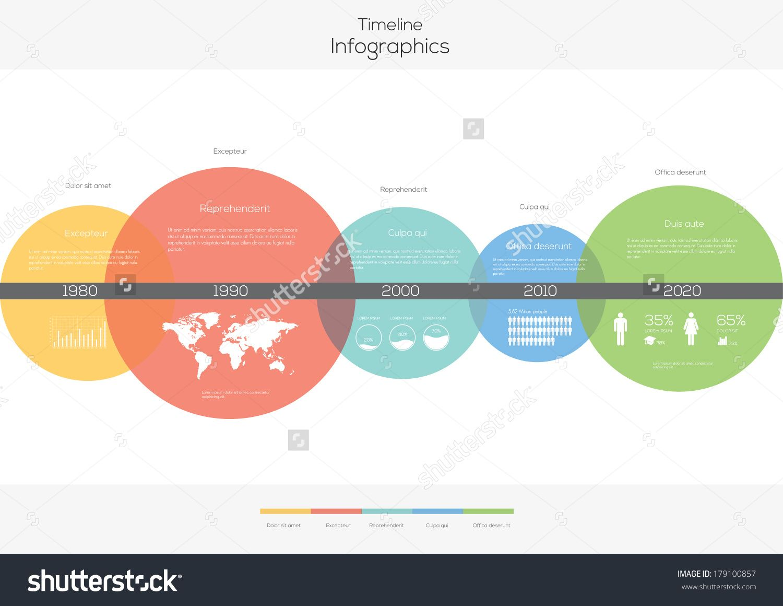 Stockvectortimelinecirclesinfographicflatvectordesign - Timeline design template