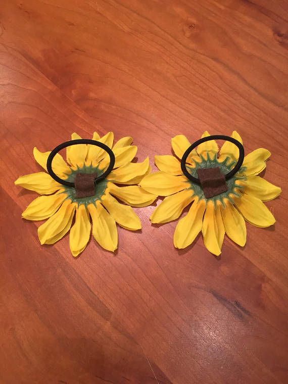 Sunflower Bun Wrap, Sunflower Hair Tie, Pony Tail Holder, Floral Bun Wrap, Floral Hair Tie, Flower Hair Tie, Floral Bun Crown, Sunflower Tie