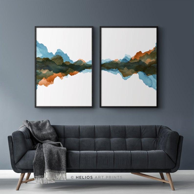 Set Of 2 Abstract Slate Blue And Rust Orange Modern Art Etsy In 2020 Blue Wall Art Landscape Wall Art Wall Art Prints