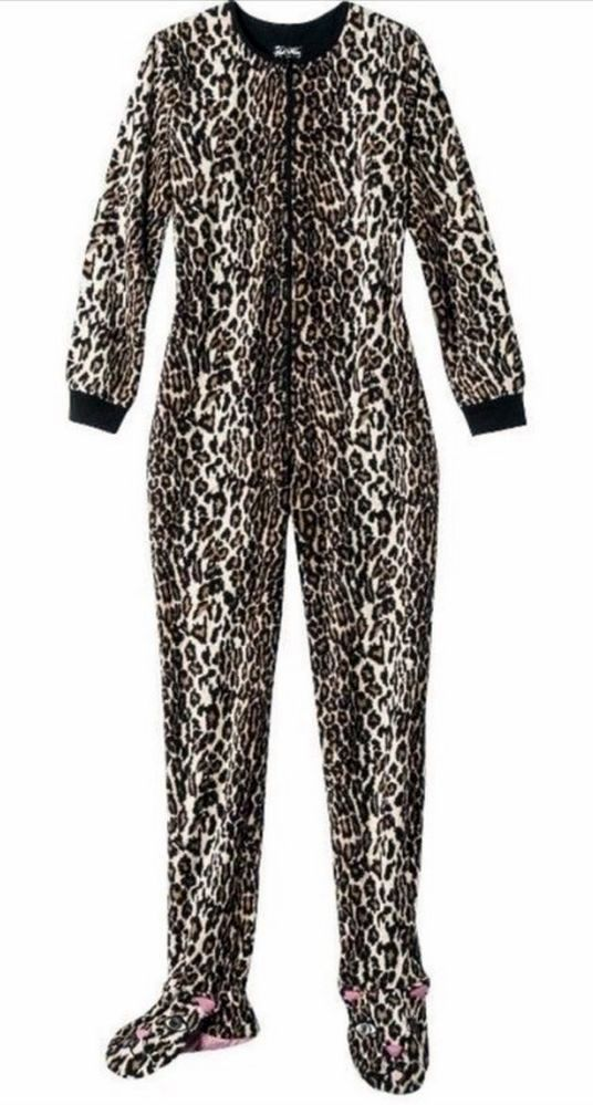 7fa76db8c Nick   Nora Leopard Footed Pajamas Womens S Fleece Costume PJs ...