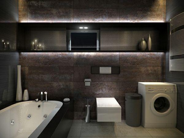 badezimmer-ideen-modern-dunkle-farbgestaltung-dekoration.jpg (600 ...