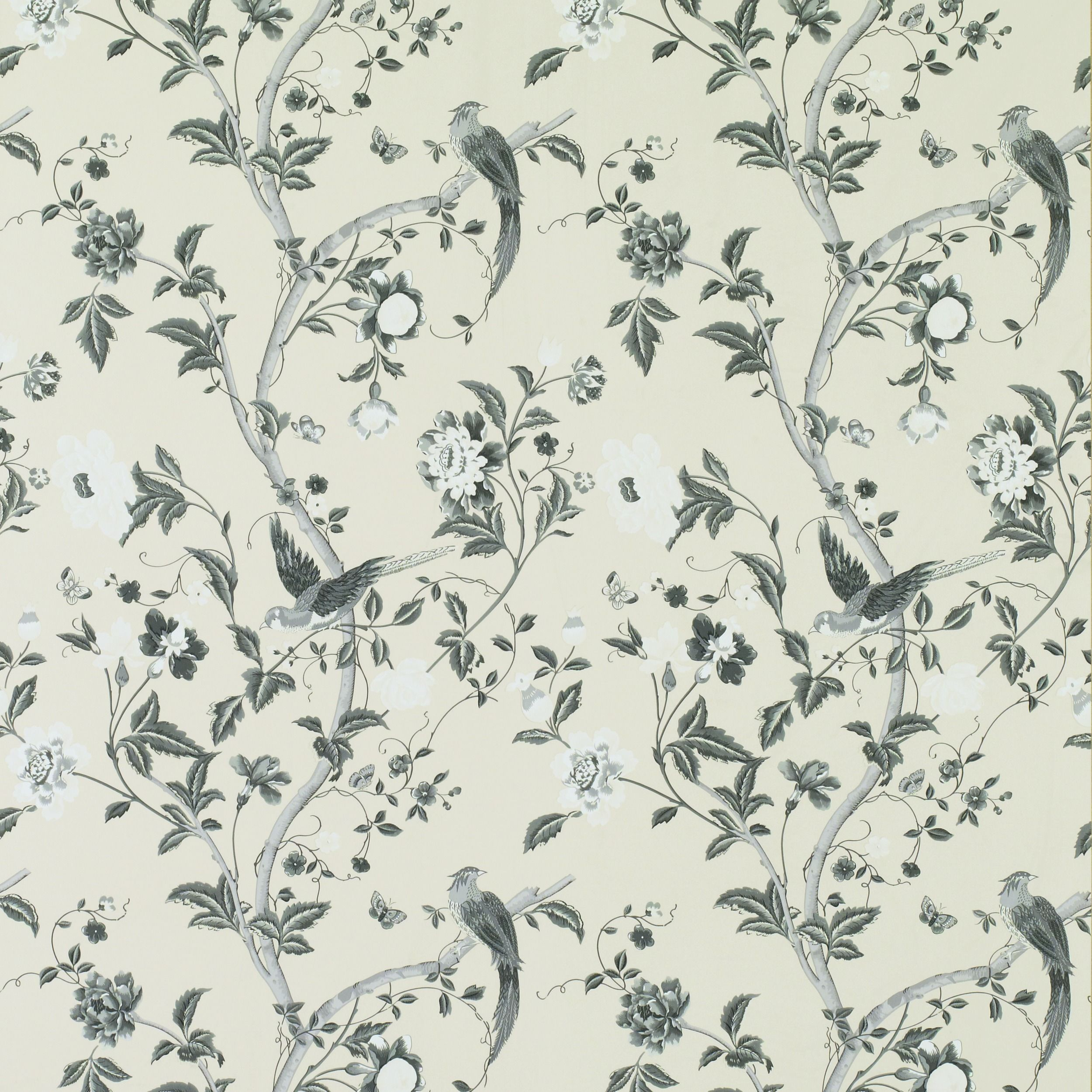 Summer Palace Charcoal Floral Wallpaper bathroom styles