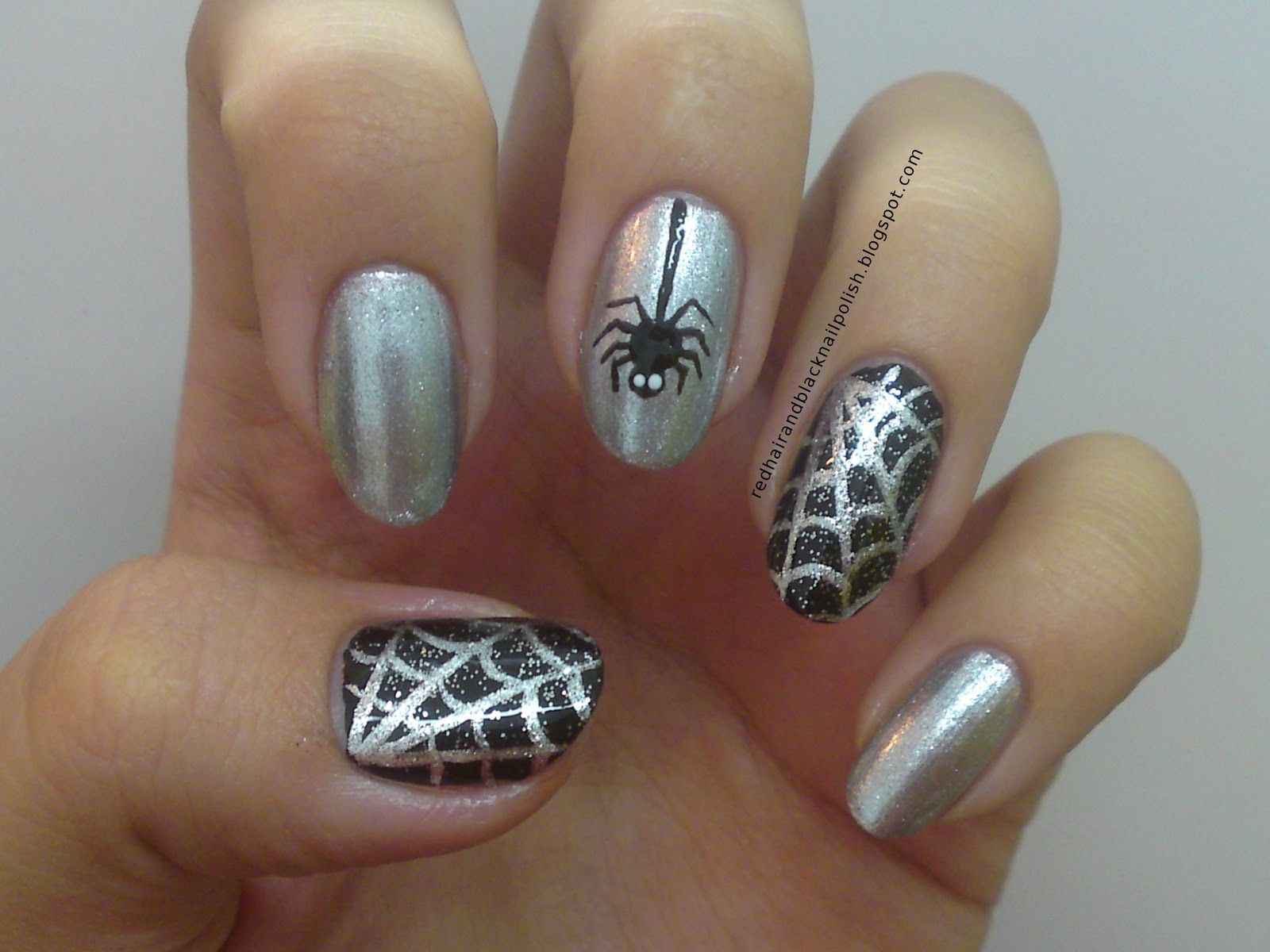 Spiderweb silver and black nails