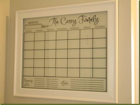 Personalized Erasable Calendar Cricut Dry Erase