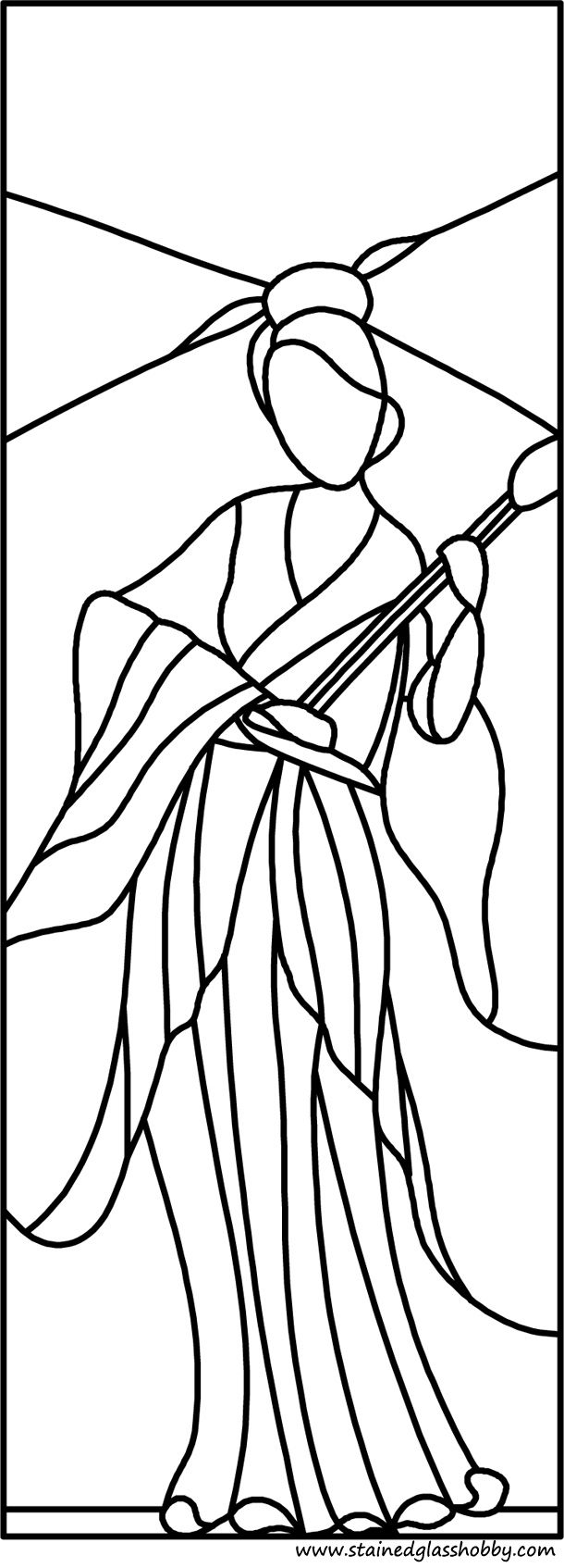 chinese woman stained glass pattern cute coloring book