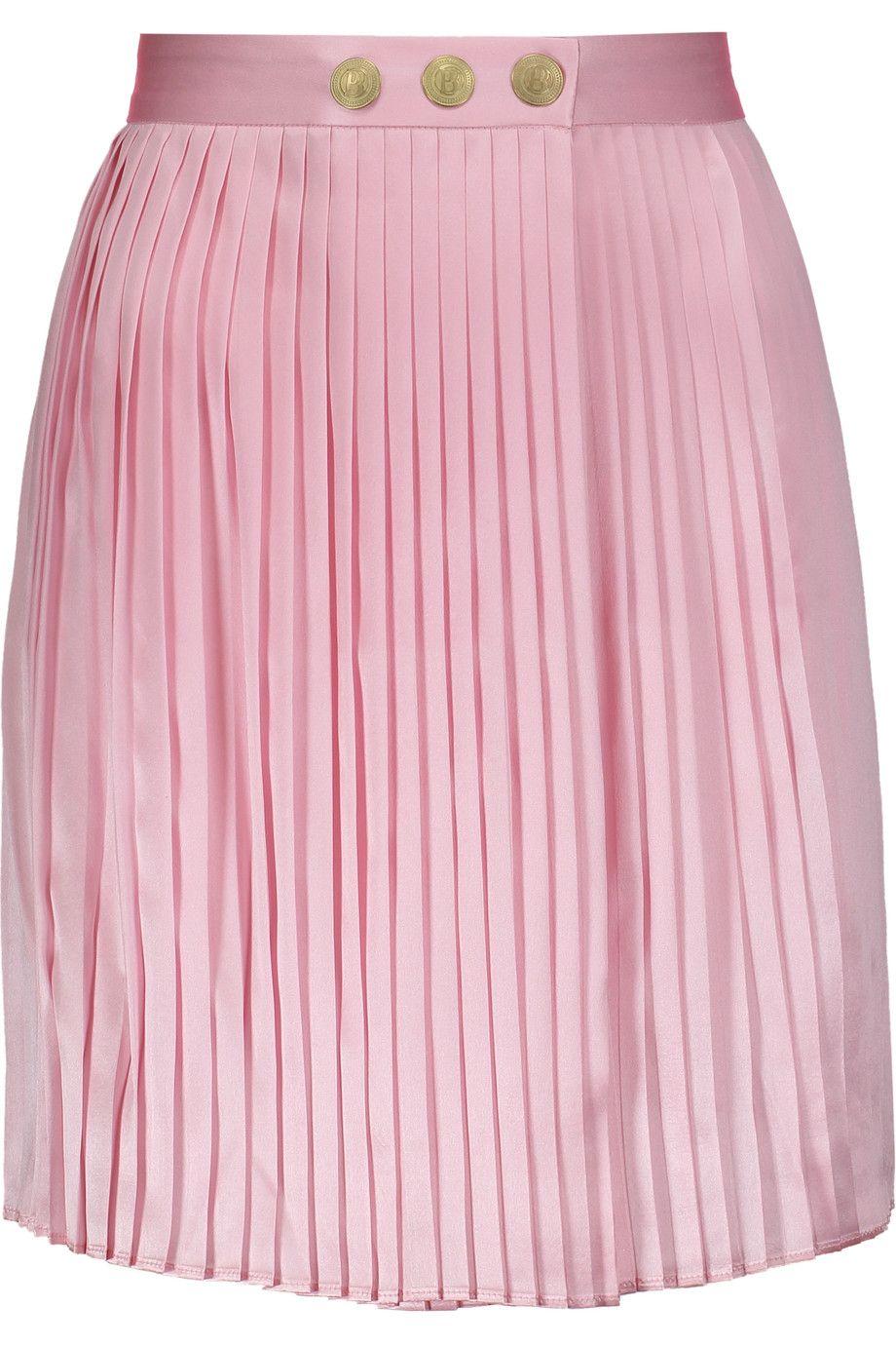 PIERRE BALMAIN Wrap Effect Plissé Silk Satin Mini Skirt