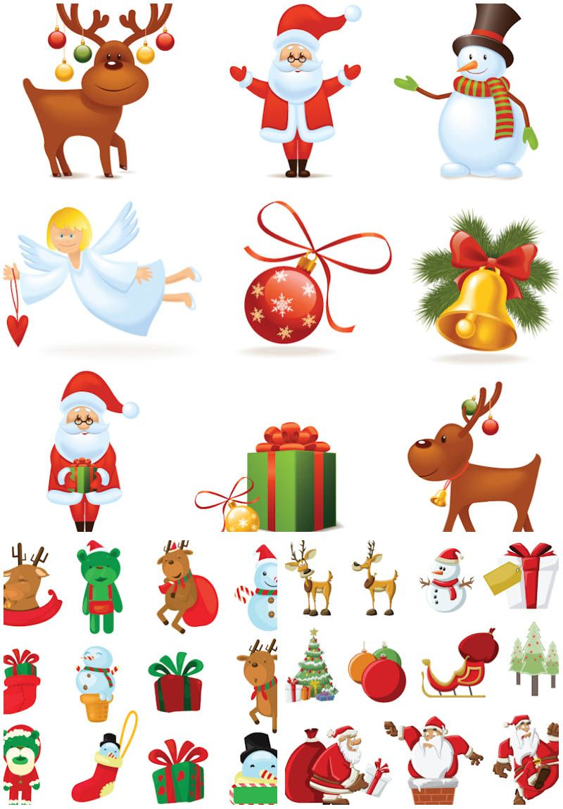 3 Sets of 32 vector cartoon Santa Claus clipart collections with ...