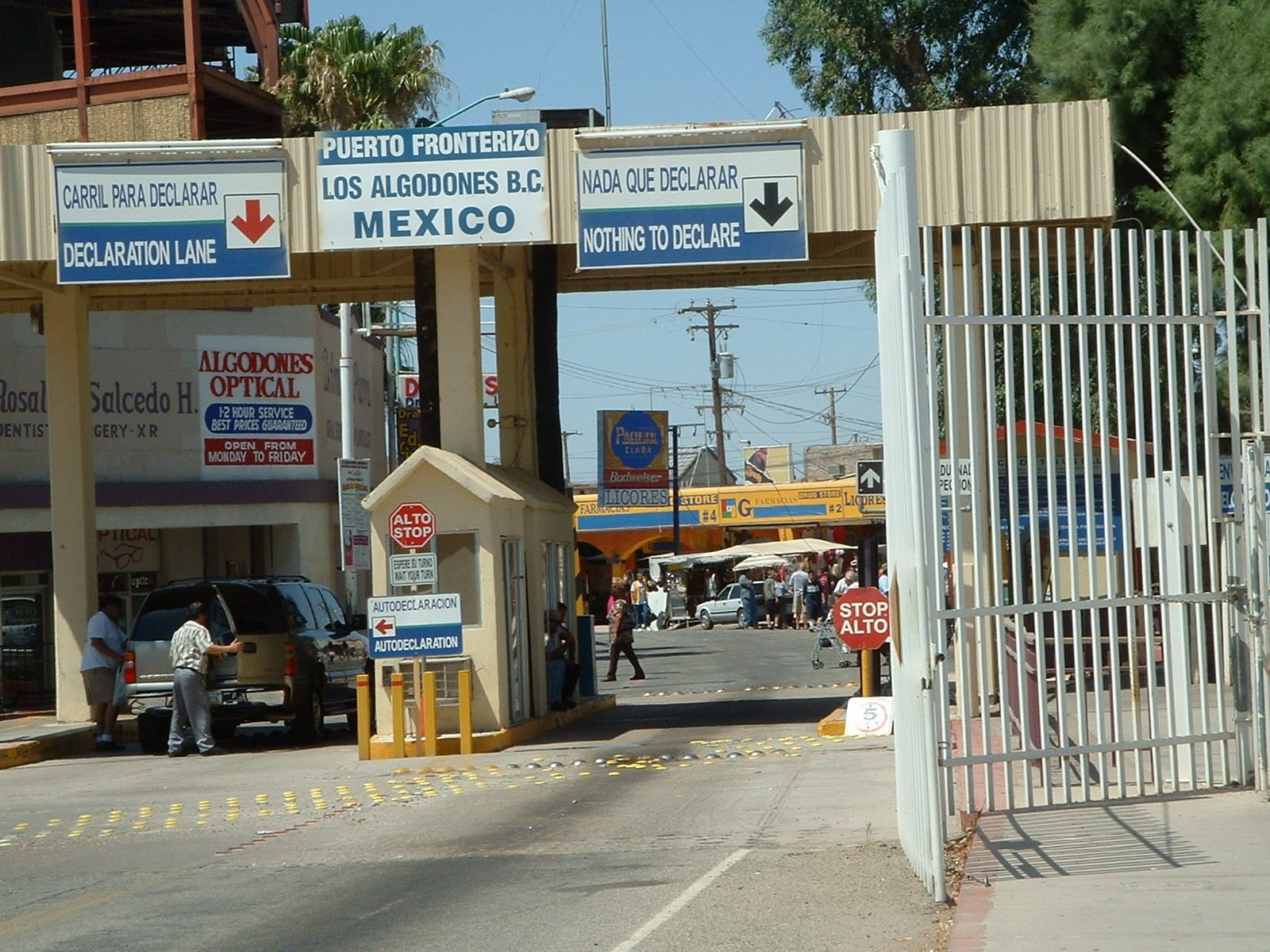 Border Crossing Into Los Algodones Mexico From Yuma Az