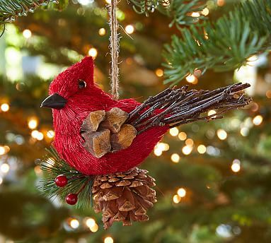 Bottle Brush Red Cardinal On Pinecone Ornament Christmas