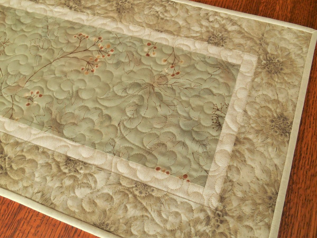 Quilted Table Runner In Neutral Shades Of Green Taupe And Cream, Narrow  Table Runner,