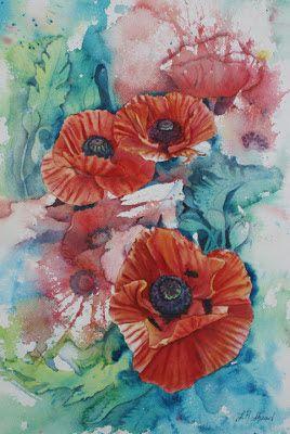Leslie Redhead Watercolors: Poppies, Poppies Everywhere!