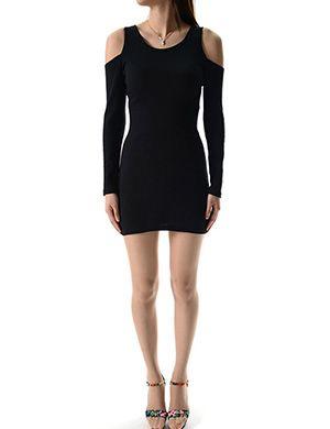 (WP01940-BLACK) Womens Crew Neck Open Shoulder Long Sleeve Mini Dress