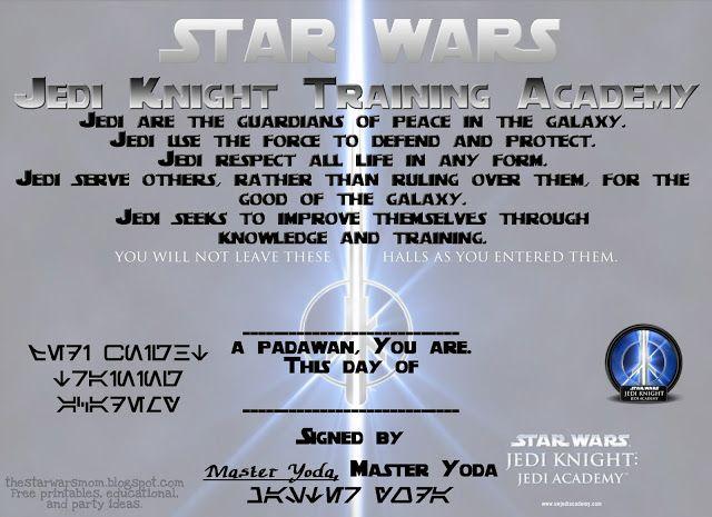 star wars jedi knight training academy free certificate printable starwars jedi