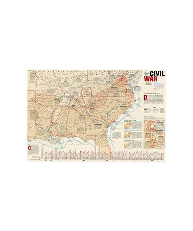 National Geographic Battles Of The Civil War Laminated Map Civil - Us civil war map geographic image
