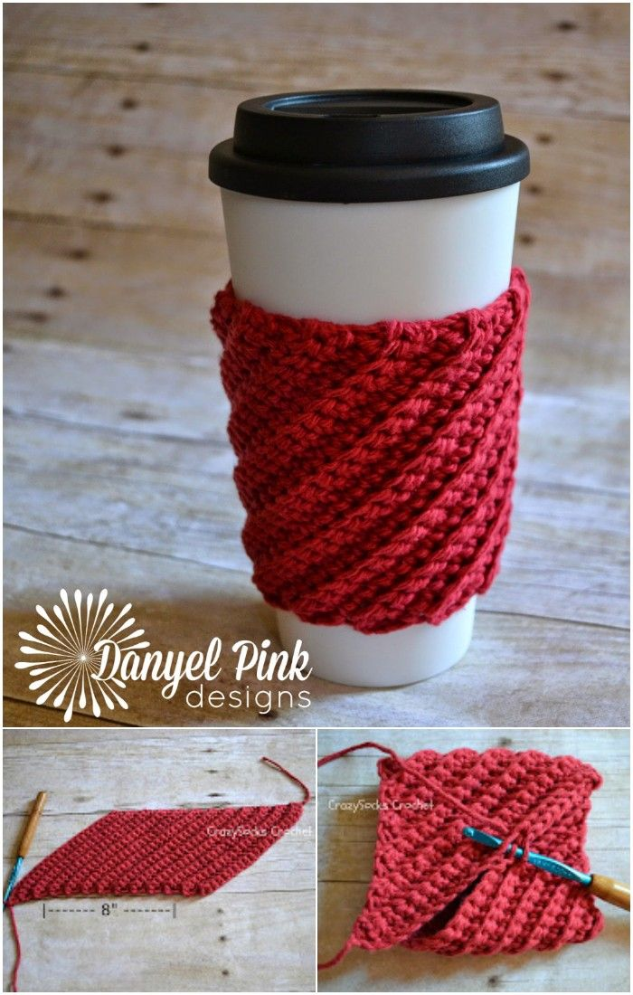 12 knitting and crochet Projects coffee cozy ideas