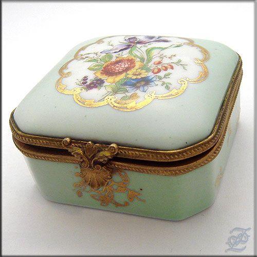 set of 3. Jewelry Box  Trinket  Dish Antique Jewelry Box  Porcelain