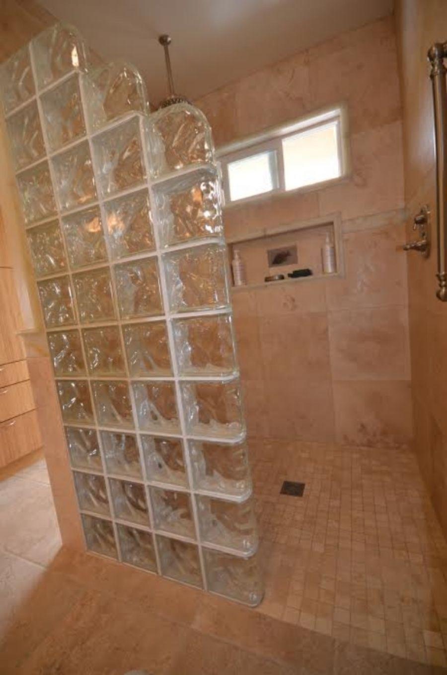 Walk In Shower Half Wall Glass Block Google Search Mom