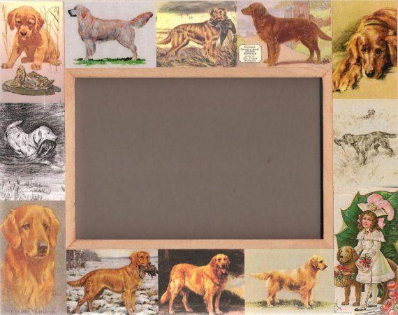 Golden Retriever Dog Picture Frame Unusual Gifts Vintage Art Dog Picture Frames Dog Frames Golden Retriever Dog Pictures