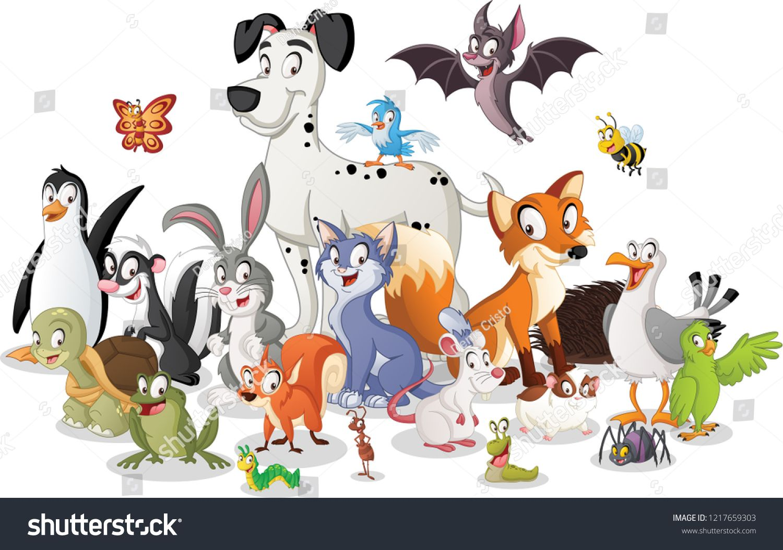 Group Of Cartoon Animals Vector Illustration Of Funny Happy Animals Sponsored Ad Animals Cartoon Happy Animals Cartoon Animals Animal Illustration Kids