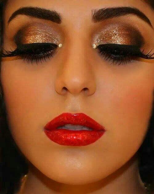 Gold Eyeshadow Red Lips Make Up Skin Hair Dramatic Makeup