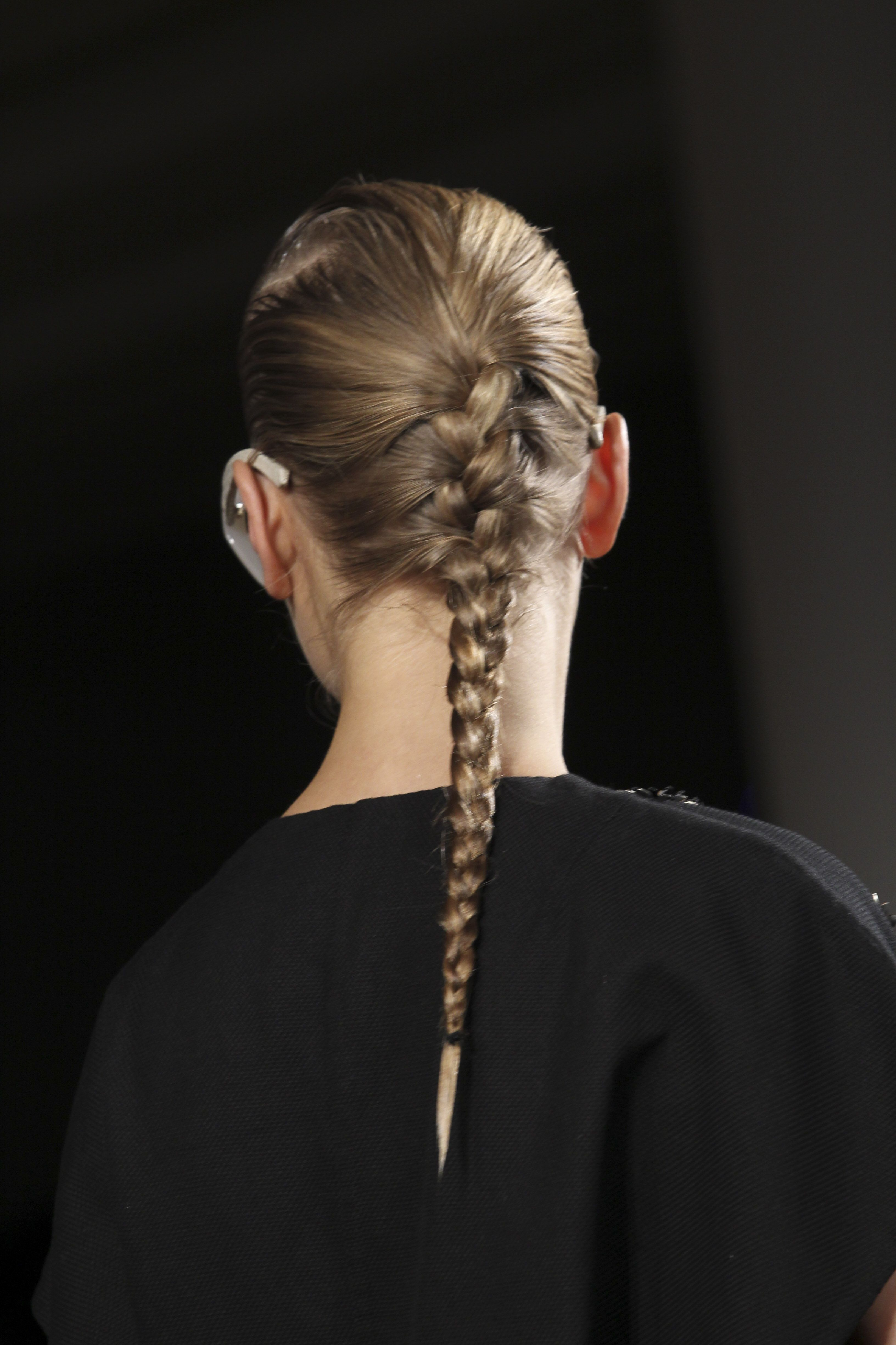 Want a runway-ready braid? The trick is to use mousse for control and satiny shine #SS15 @PeterSom #hair