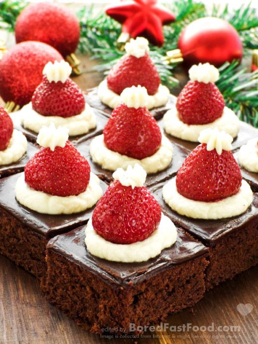 Christmas Dinner Party Menu Ideas Part - 15: Santa Hat Mini Brownies U2013 Healthy Christmas Party Dinner Menu Dessert Ideas  - Bored Fast Food