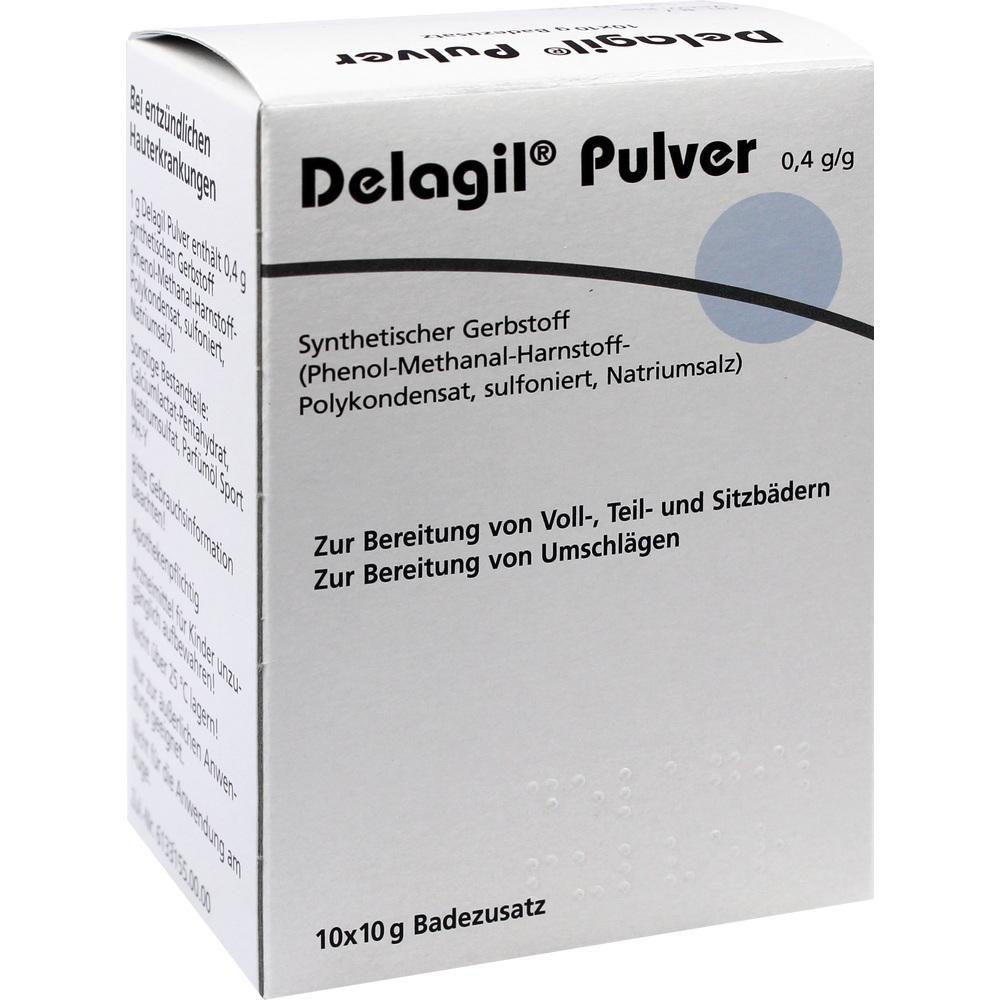 DELAGIL Pulver:   Packungsinhalt: 10X10 g Bad PZN: 07426073 Hersteller: DERMAPHARM AG Preis: 5,93 EUR inkl. 19 % MwSt. zzgl.…