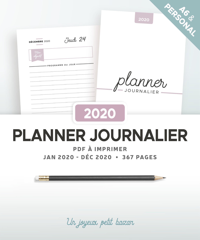 Agenda Journalier 2020 A Imprimer Recharge En Francais Pour Planner Imprimable Au Format Personal Et A Printable Planner Daily Planner Printable Daily Planner