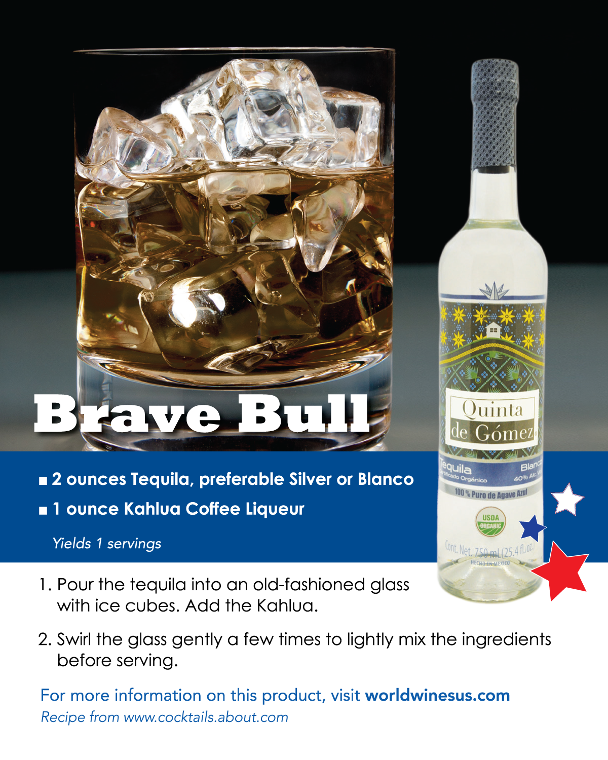 Attention tequila and coffee lovers, I have the perfect drink for you: the Brave Bull! All you simply need is tequila and Kahlúa. A bit of an odd couple to pair huh? Looking into the history of Kahlúa (derived from the Veracruz Nahuatl language), you will find that it originates from Mexico. The agave flavors from the tequila actually blend beautifully with the Kahlúa. Be sure to stock up on ice when serving this adventurous drink because your guests will surely be coming back for more!