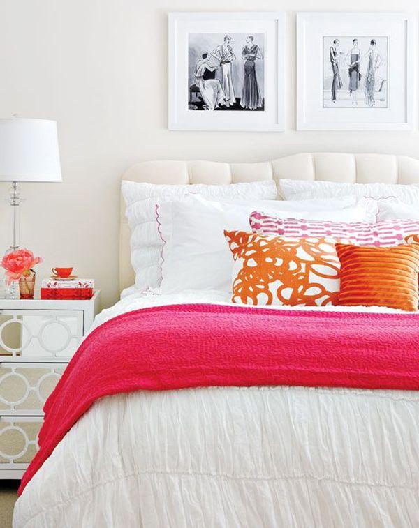 White Headboard And Pops Of Bright Color Bedroom Orange Orange