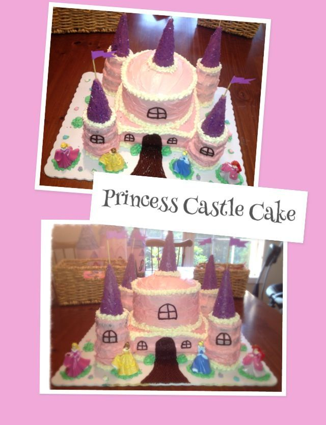 Adorable DIY pink and purple princess castle cake for girls birthday