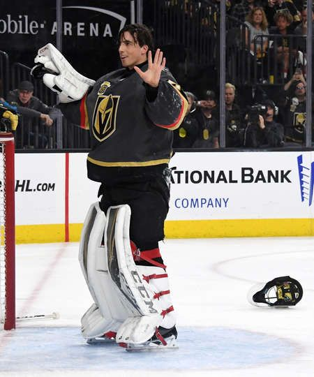LAS VEGAS, NV - APRIL 11: Marc-Andre Fleury #29 of the Vegas Golden Knights reacts after he lost his helmet, glove and stick while defending the net against the Los Angeles Kings in the third period of Game One of the Western Conference First Round at T-Mobile Arena on April 11, 2018 in Las Vegas, Nevada. The Golden Knights won 1-0. (Photo by Ethan Miller/Getty Images)