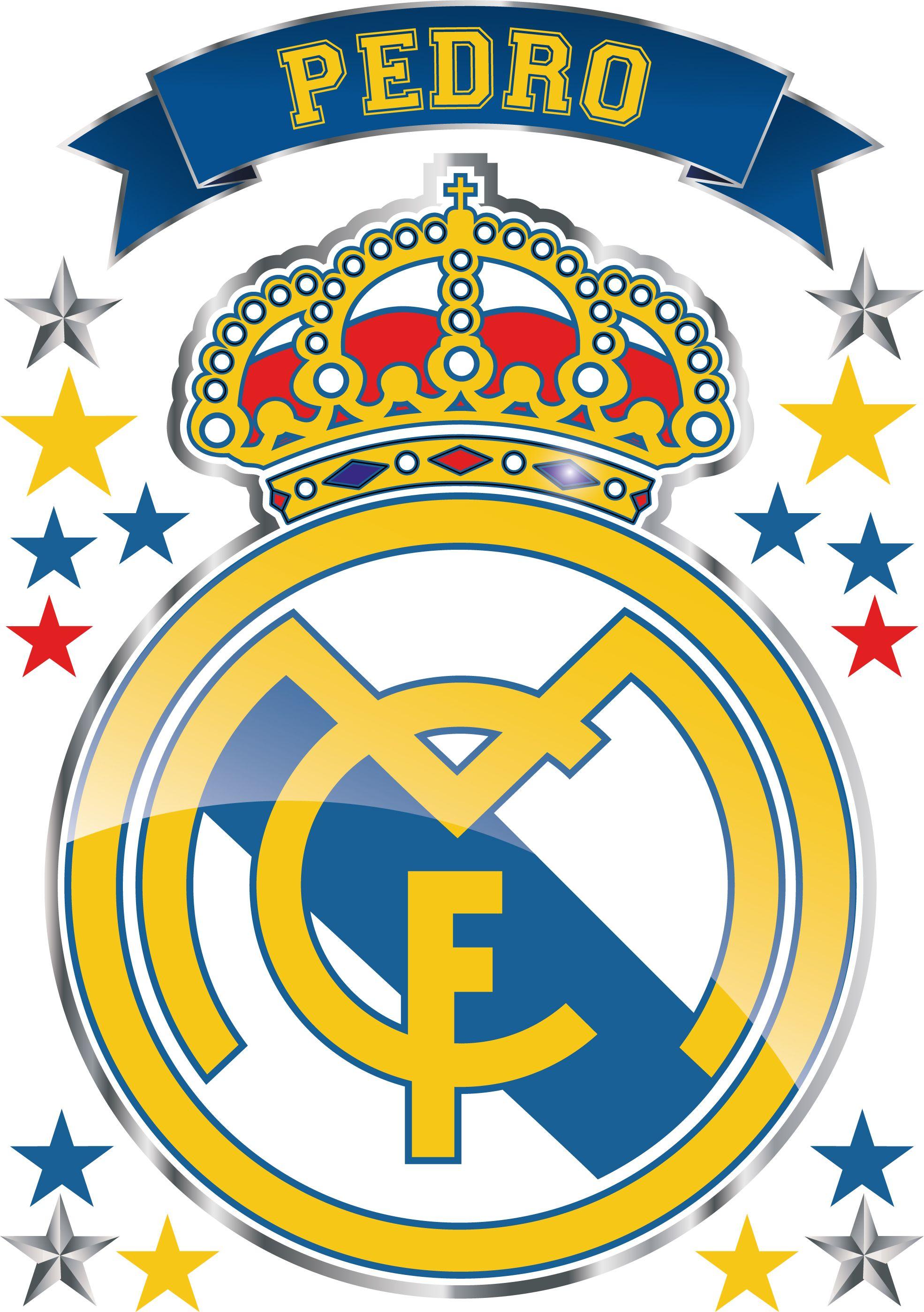 Kit De Vinilo Escudo Real Madrid Con Tu Nombre Personalizado