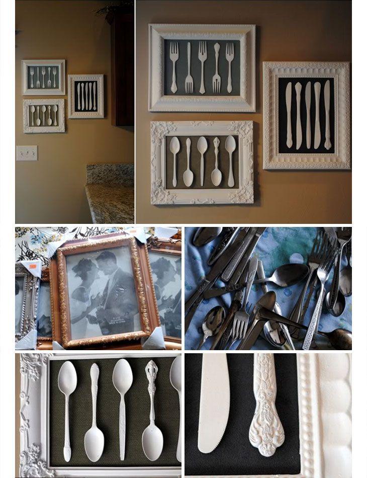 Reciclado de cubiertos y antiguos para realizar cuadros cocina ...