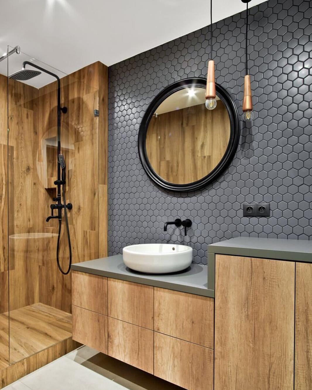 Mieszkaj Jak Lubisz Na Instagramie Ciemnoszary Heksagon Raw Decor W Lazience W Polaczen Farmhouse Bathroom Decor Bathroom Decor Modern Farmhouse Bathroom