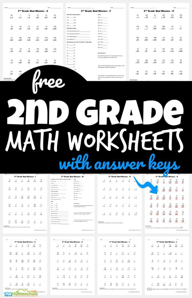 Free 2nd Grade Math Worksheets 2nd Grade Math Worksheets Free Math Worksheets 2nd Grade Math [ 1258 x 810 Pixel ]