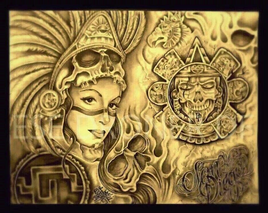 Pin by andy manuel on arte chicano pinterest aztec for Chicano tattoo art