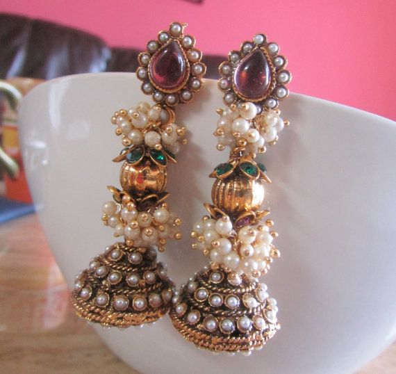 Chandelier earrings jhumka bollywood indian pearls drop chandelier earrings jhumka bollywood indian pearls drop statement earrings mozeypictures Image collections