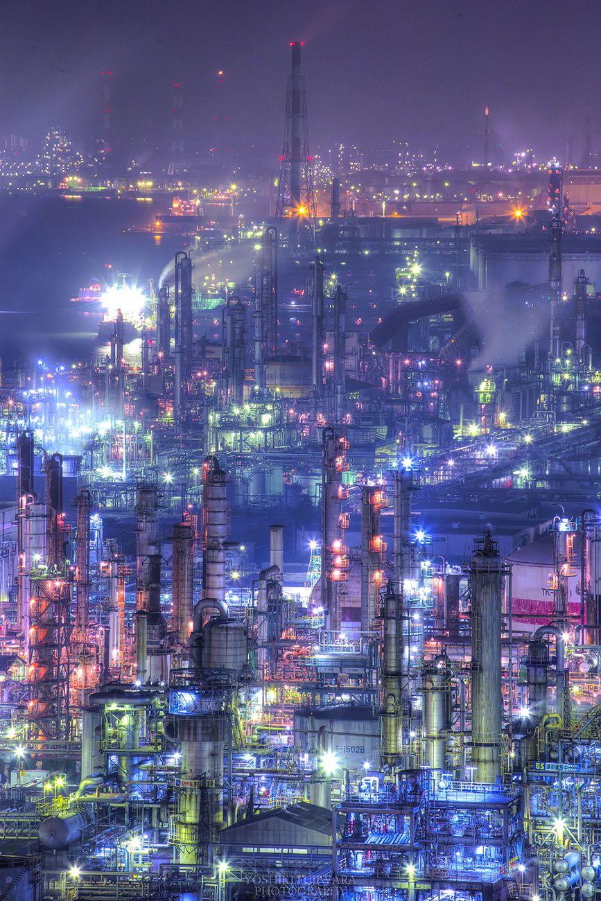Machinery Fortress Yokkaichi Plant Night View Mie Japan